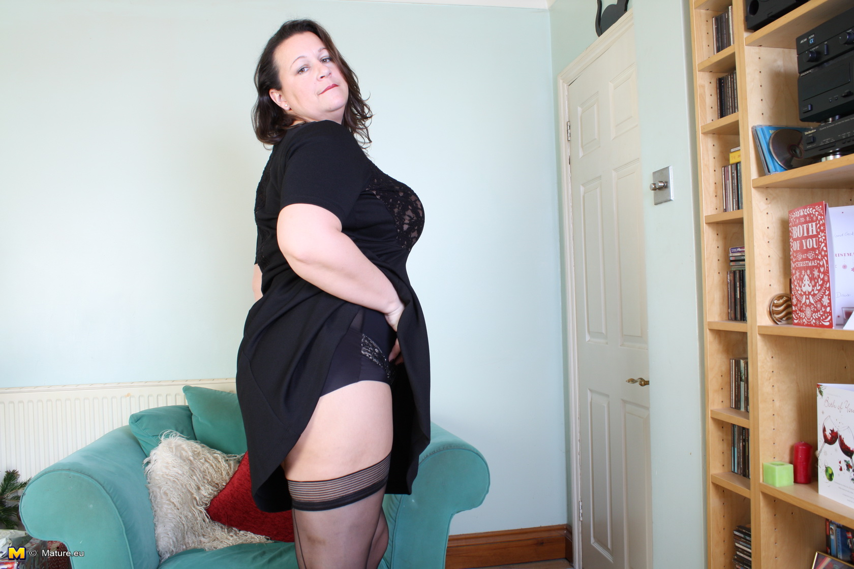 British mature stockings tease