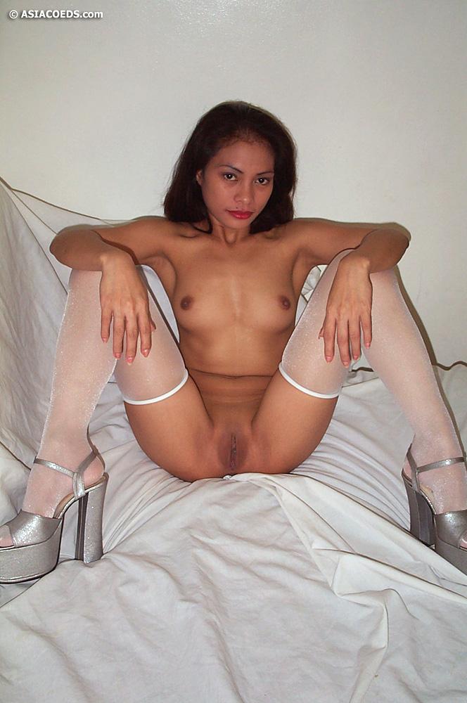 legs spread stockings Filipina