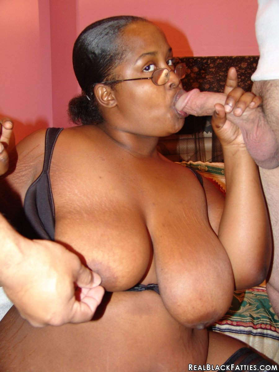 black fatty in glasses has her pussy stuffedtwo hung guys